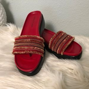 Donald J Pliner Red Fiji Leather Sandals - Sz 8